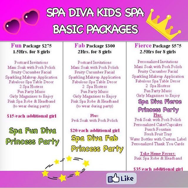 Party packages spa diva kids spa for Weekend girl getaways spa packages